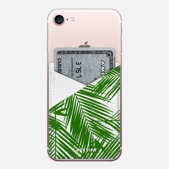 Green Topical Palm - Saffiano Leather Phone Wallet