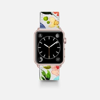 Leather Watch Band -  Spring Watercolor Floral