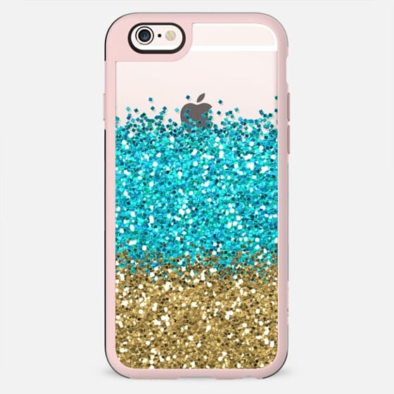 Gold and Aqua Glitter - New Standard Case