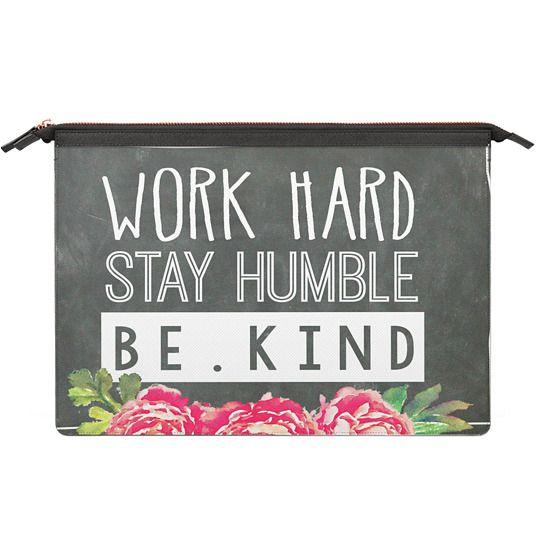MacBook Pro 13 Sleeves - Work Hard Stay Humble Be Kind Chalkboard Peony