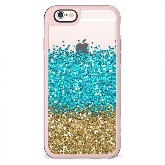 Gold and Aqua Glitter