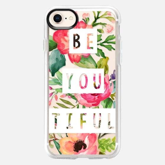 Be You Tiful White Block Watercolor Floral - Snap Case