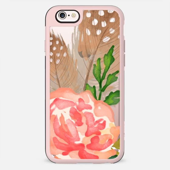 Watercolor Floral and Feathers - New Standard Case