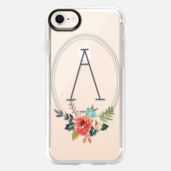 Watercolor Floral Monogram Initial A - Snap Case