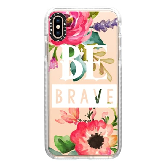 iPhone XS Max Cases - Be Brave Watercolor Floral