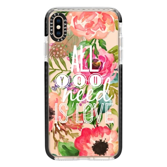 iPhone XS Max Cases - All You Need Is Love Watercolor Floral