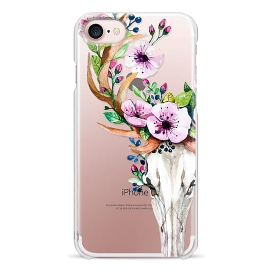 iPhone 7 Cases - Deer Head Skull and Floral