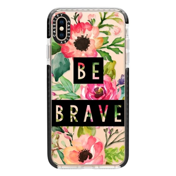 iPhone XS Max Cases - Be Brave Block Watercolor Floral