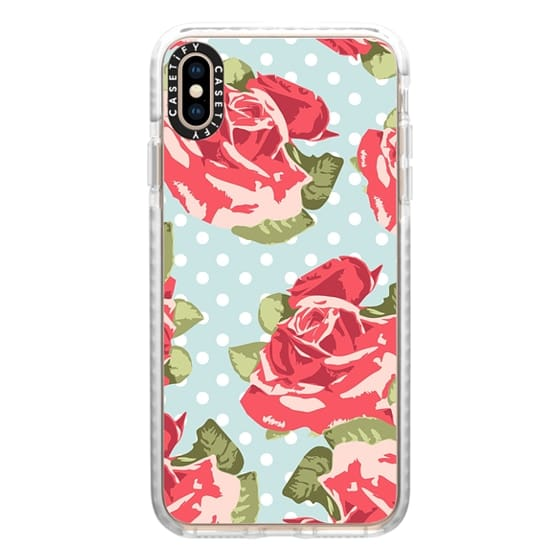 iPhone XS Max Cases - Vintage Floral and Polka Dots