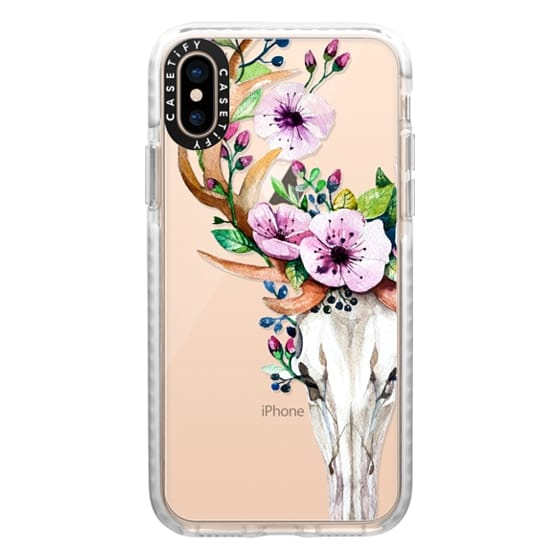 iPhone XS Cases - Deer Head Skull and Floral