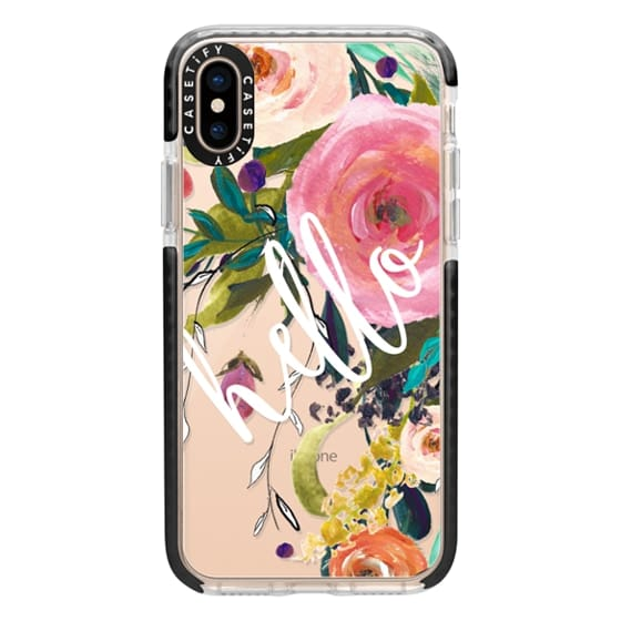 iPhone XS Cases - Hello Watercolor Floral