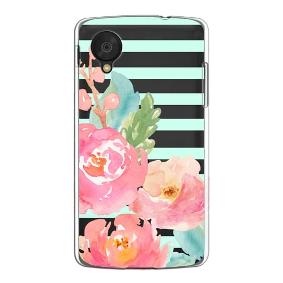 Watercolor Floral Sea-foam Stripes