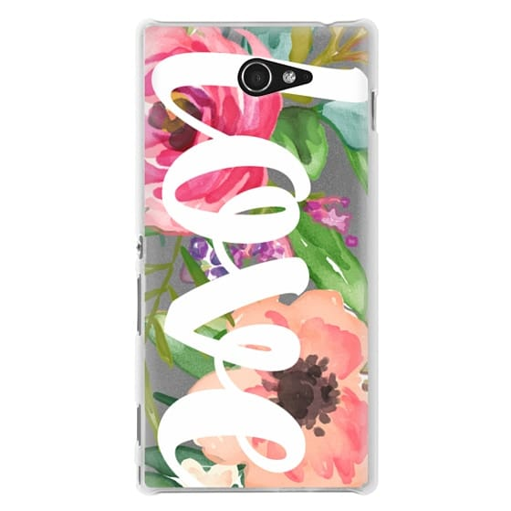 Sony M2 Cases - LOVE Watercolor Floral