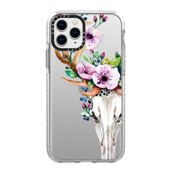 iPhone 11 Pro Cases - Deer Head Skull and Floral