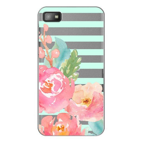 Blackberry Z10 Cases - Watercolor Floral Sea-foam Stripes