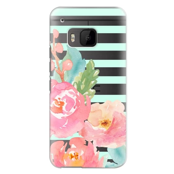 Htc One M9 Cases - Watercolor Floral Sea-foam Stripes