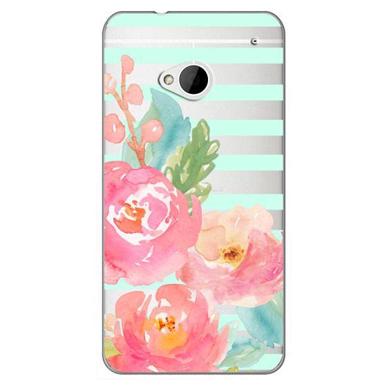 Htc One Cases - Watercolor Floral Sea-foam Stripes