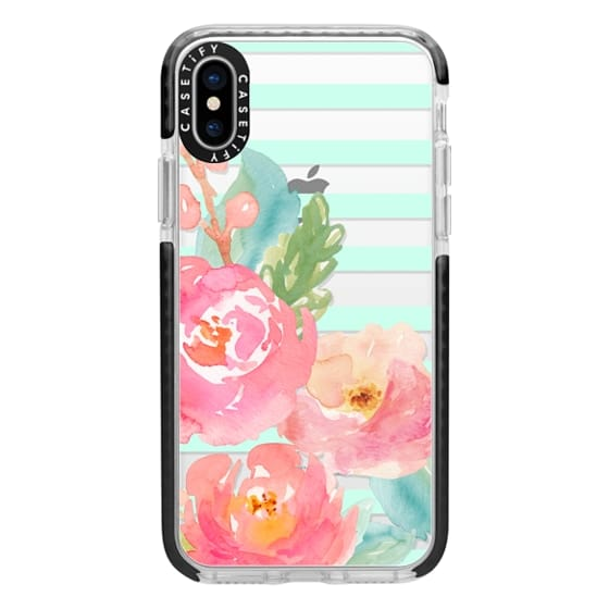 iPhone X Cases - Watercolor Floral Sea-foam Stripes