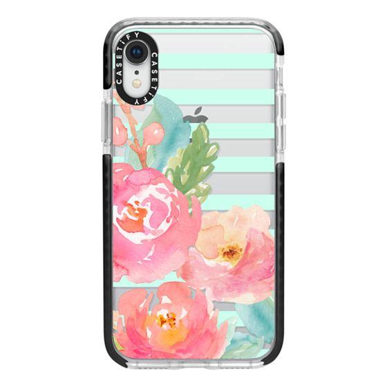iPhone XR Cases - Watercolor Floral Sea-foam Stripes
