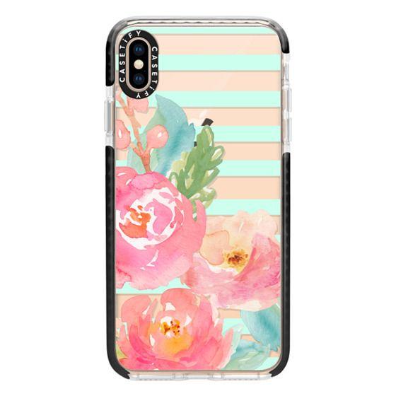 iPhone XS Max Cases - Watercolor Floral Sea-foam Stripes