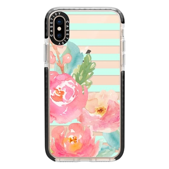 iPhone XS Cases - Watercolor Floral Sea-foam Stripes