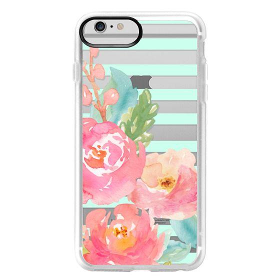 iPhone 6 Plus Cases - Watercolor Floral Sea-foam Stripes