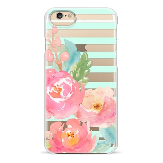 iPhone 6 Cases - Watercolor Floral Sea-foam Stripes