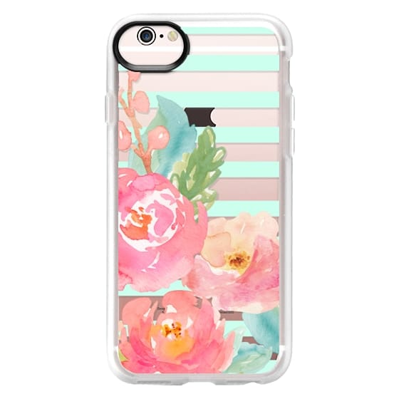 iPhone 6s Cases - Watercolor Floral Sea-foam Stripes