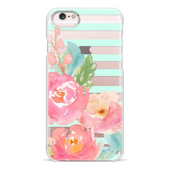 iPhone 6s Cases - Watercolor Floral Sea-foam Stripes