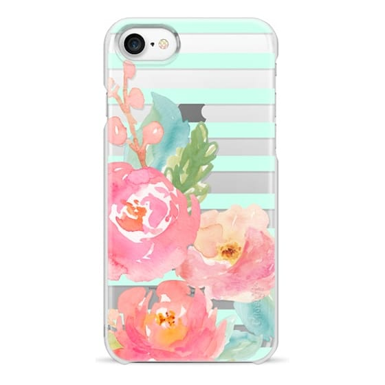 iPhone 7 Cases - Watercolor Floral Sea-foam Stripes