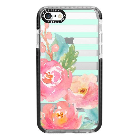 iPhone 7 Cases - Watercolor Floral Sea-foam Stripes