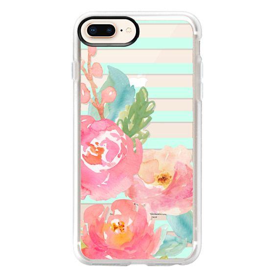 iPhone 8 Plus Cases - Watercolor Floral Sea-foam Stripes