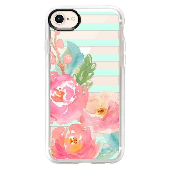 iPhone 8 Cases - Watercolor Floral Sea-foam Stripes