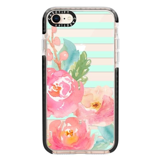 iPhone 8 Cases - Watercolor Floral Sea-foam Stripes