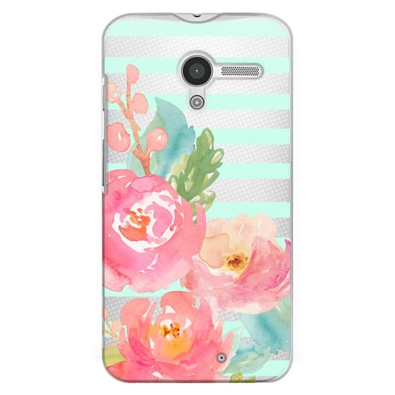 Moto X Cases - Watercolor Floral Sea-foam Stripes
