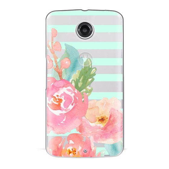Nexus 6 Cases - Watercolor Floral Sea-foam Stripes