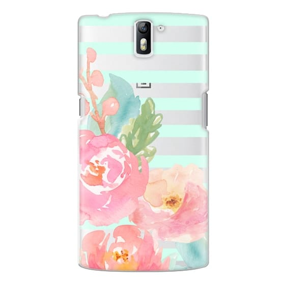 One Plus One Cases - Watercolor Floral Sea-foam Stripes