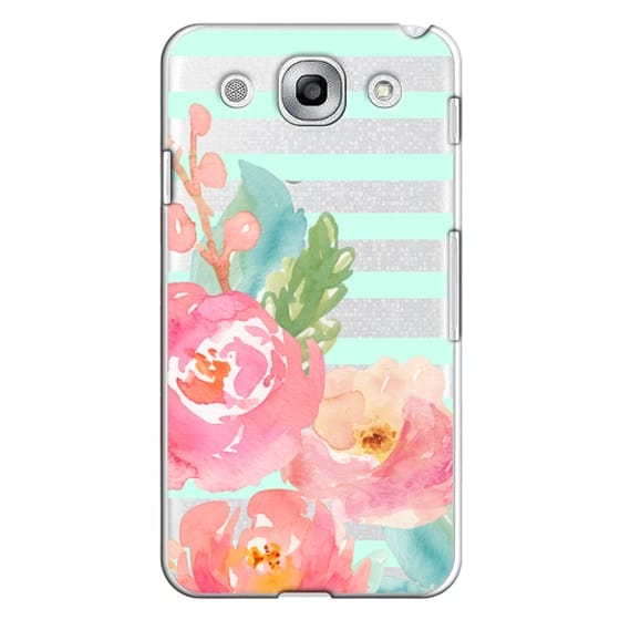 Optimus G Pro Cases - Watercolor Floral Sea-foam Stripes