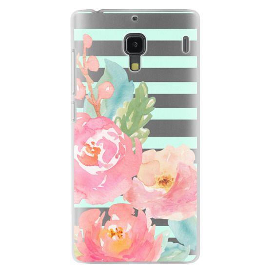 Redmi 1s Cases - Watercolor Floral Sea-foam Stripes