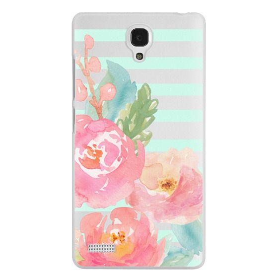 Redmi Note Cases - Watercolor Floral Sea-foam Stripes