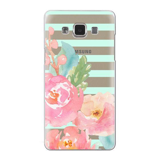 Samsung Galaxy A5 Cases - Watercolor Floral Sea-foam Stripes