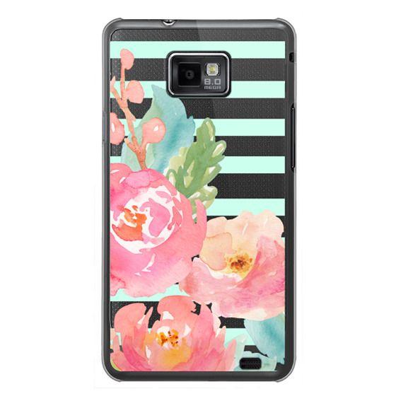 Samsung Galaxy S2 Cases - Watercolor Floral Sea-foam Stripes