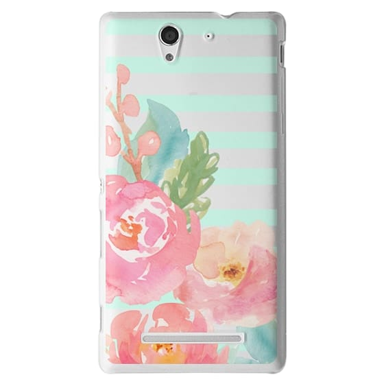 Sony C3 Cases - Watercolor Floral Sea-foam Stripes