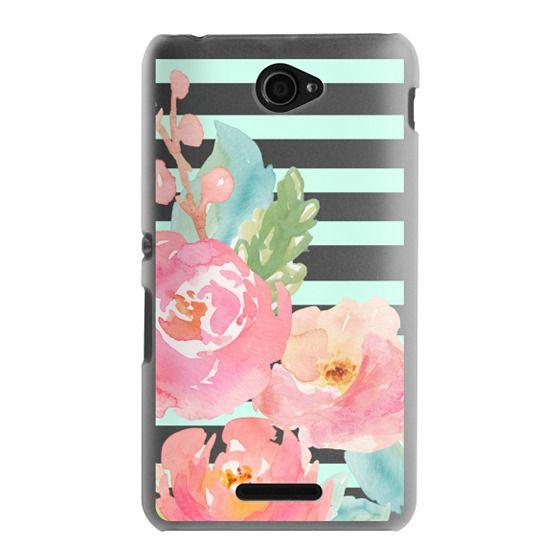 Sony E4 Cases - Watercolor Floral Sea-foam Stripes