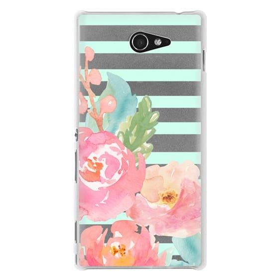 Sony M2 Cases - Watercolor Floral Sea-foam Stripes