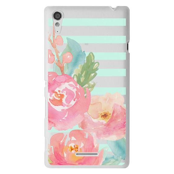 Sony T3 Cases - Watercolor Floral Sea-foam Stripes