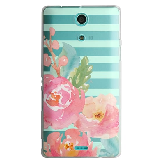 Sony Zr Cases - Watercolor Floral Sea-foam Stripes