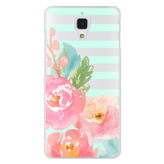 Xiaomi 4 Cases - Watercolor Floral Sea-foam Stripes