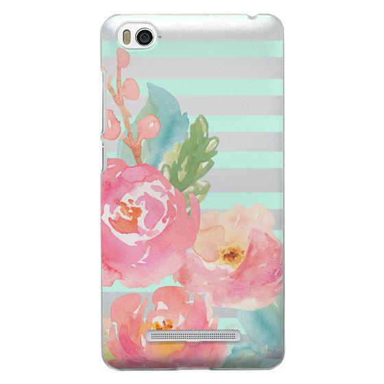 Xiaomi 4i Cases - Watercolor Floral Sea-foam Stripes