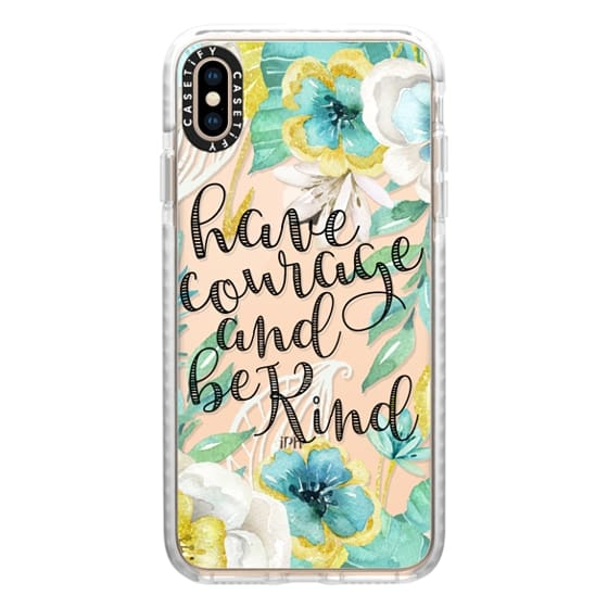 iPhone XS Max Cases - Have Courage and Be Kind Gold and Teal Watercolor Floral
